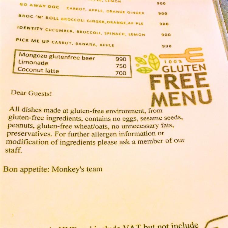 glutenfrei budapest - monkey's speisekarte