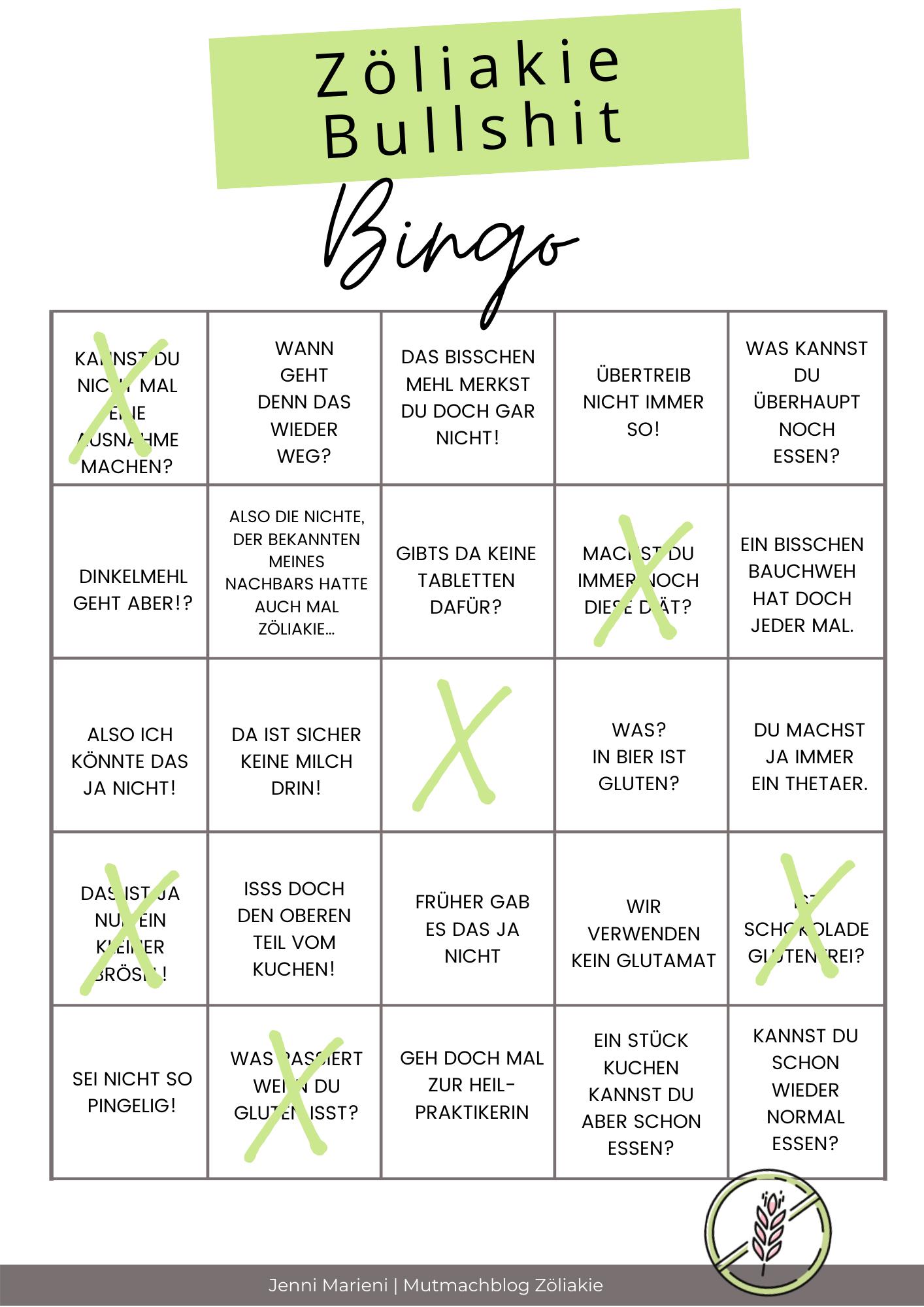 Zöliakie Bullshit Bingo
