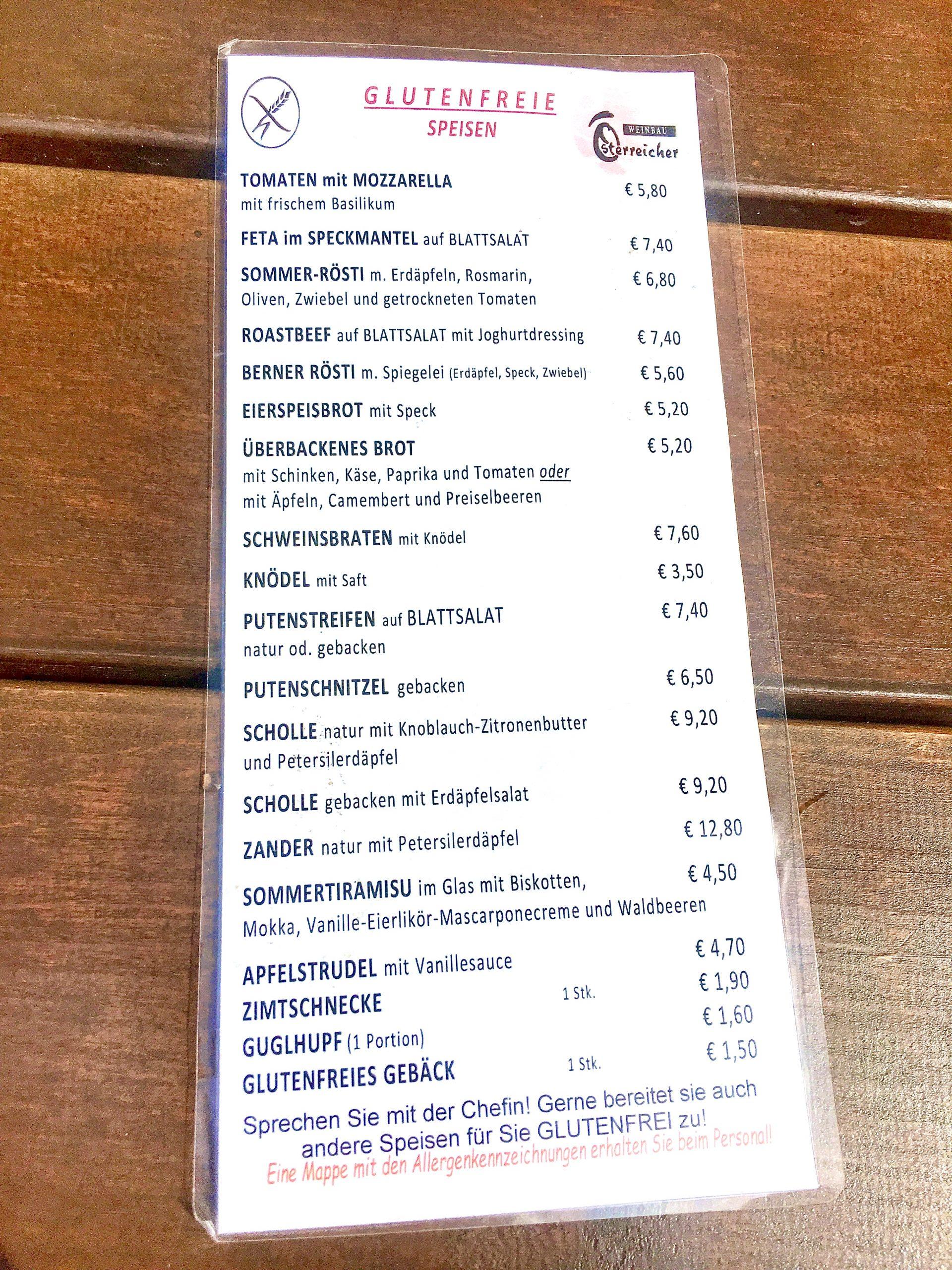 Die glutenfreie Speisekarte beim Heuriger Österreicher
