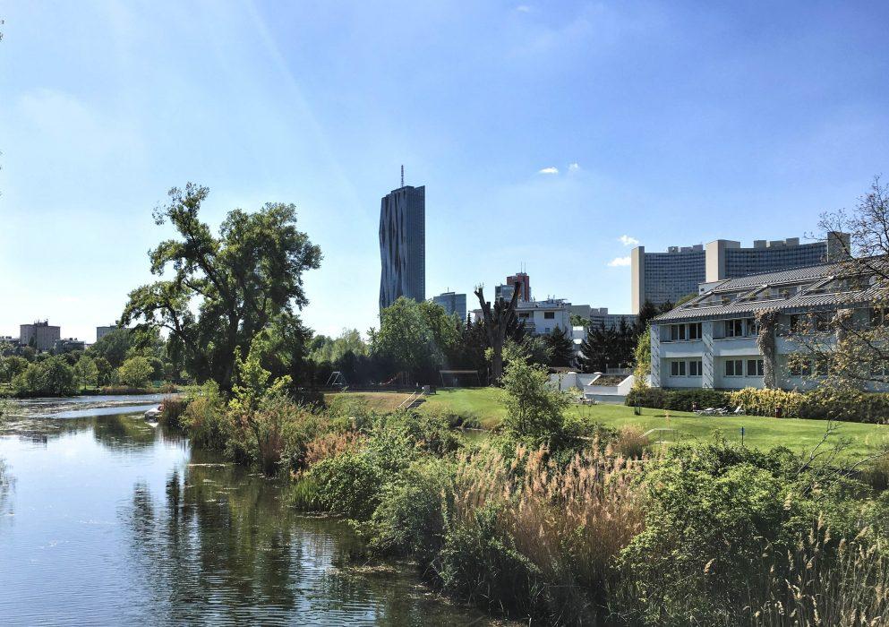 Die Donau mit dem DC Tower im Hintergrund - Foto von Sigrid Karner-Rühl