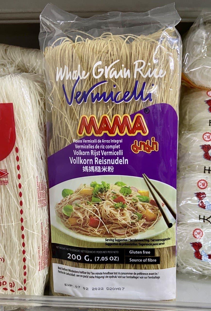 Glutenfreie Vollkorn Reisnudeln im Coco Asian Supermarkt in Wien - glutenfrei deklariert!