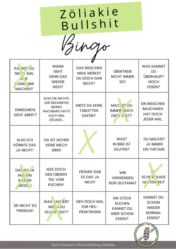 Das Zöliakie Bullshit Bingo